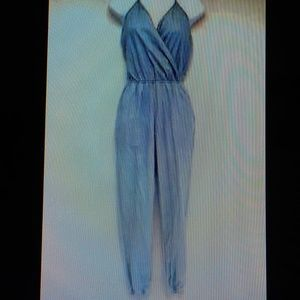 Mimi Chica Chambray Light Blue Halter Jumpsuit